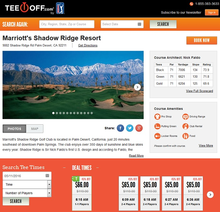 TeeOff.com dynamic pricing in action at Marriott's Shadow Ridge Resort